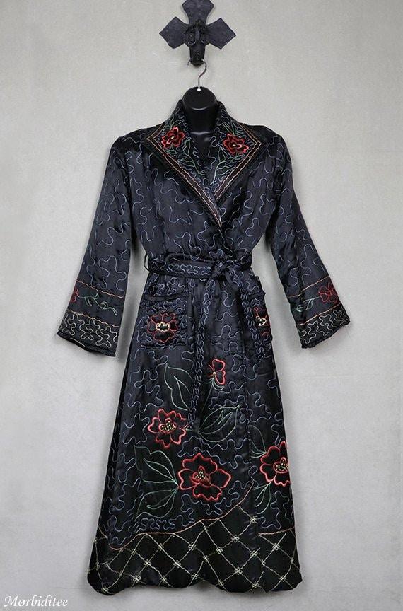 1940 heavily embroidered black satin robe, dressin