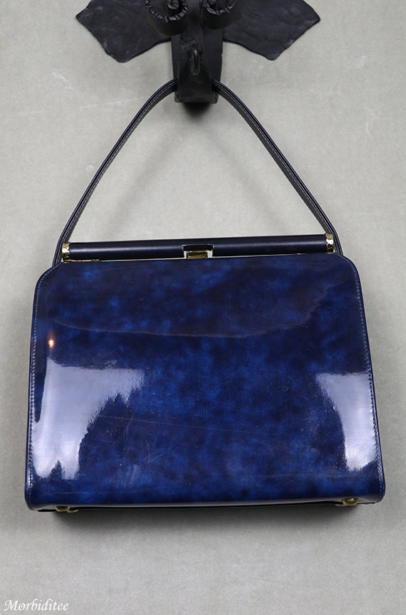 1950s Kelly handbag, bag purse, marbled blue viny… - image 5