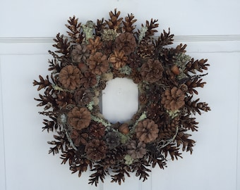 """All Natural Pine Cone Wreath, 17"""" Woodland Wreath, Pine Cone and Lichen Wreath, Rustic Wreath, Handcrafted, One of a Kind, Long Lasting"""