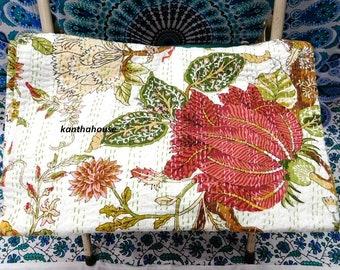 Indian Kantha Quilt King Bedsheet Handmade Handblock Bedcover Cotton Bedspread14 Quilts, Bedspreads & Coverlets