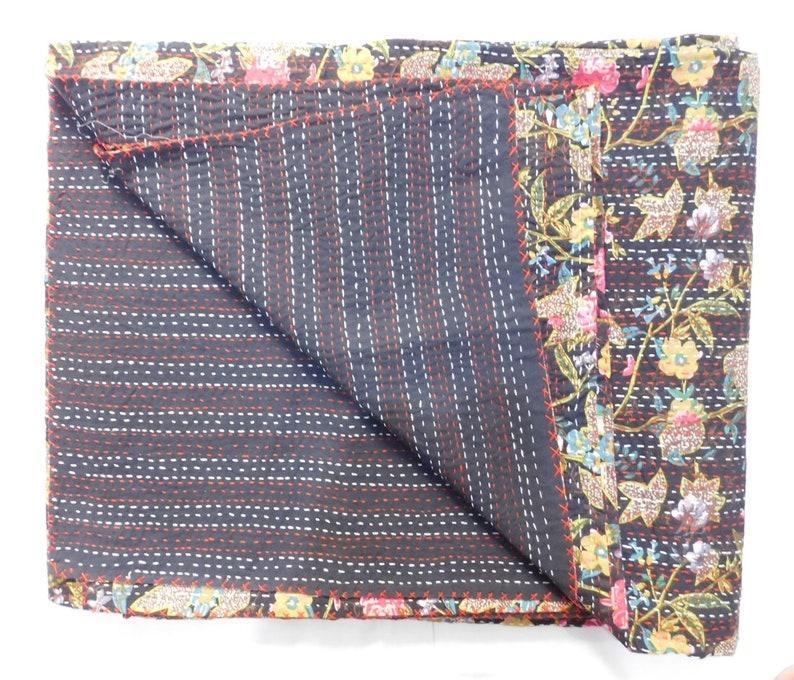 Handblock Kantha Quilt Handmade Kantha Bedspread Indian,Quilts 100/% cotton Cotton Gudari