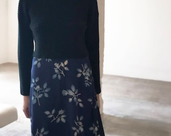 silk maxi skirt in blue floral