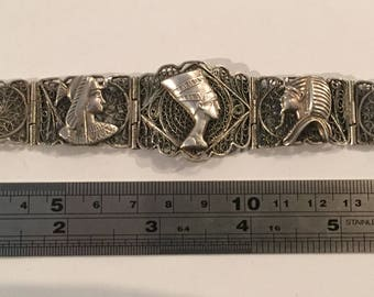 Silver (Not tested) Filigree Bracelet With Egyptian Designs