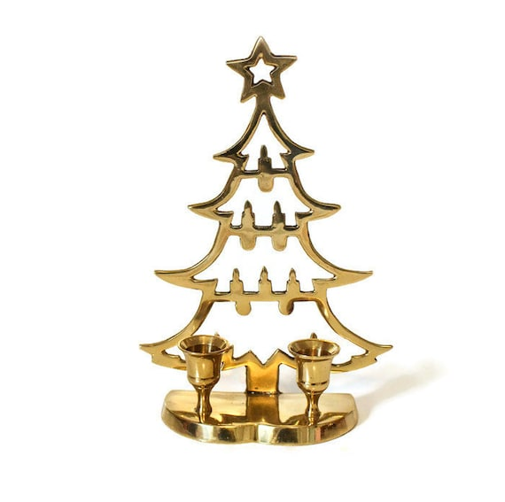 Vintage Brass Christmas Tree Candle Holder.Vintage Brass Christmas Tree Candle Holder Brass Candlestick Holder Tree Shaped Christmas Decoration Vintage Christmas Mid Century
