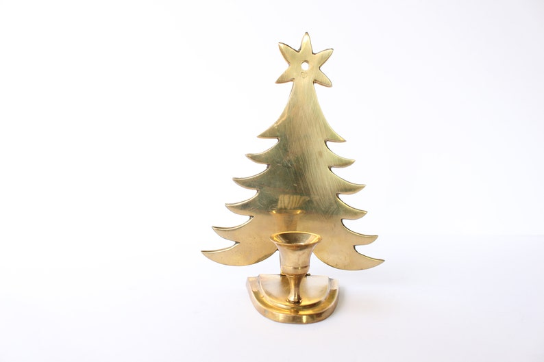 Vintage Brass Christmas Tree Candle Holder.Christmas Tree Candle Holder