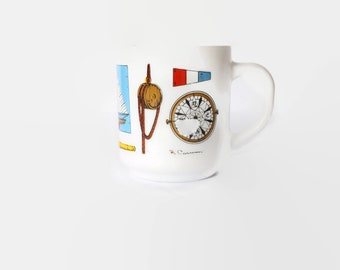 R. Carman Nautical Milk Glass Mug / Vintage White Glass Mug / Compass, Sailboat, Ship Wheel, Mast / Made in France / Mid Century Sailor Mug