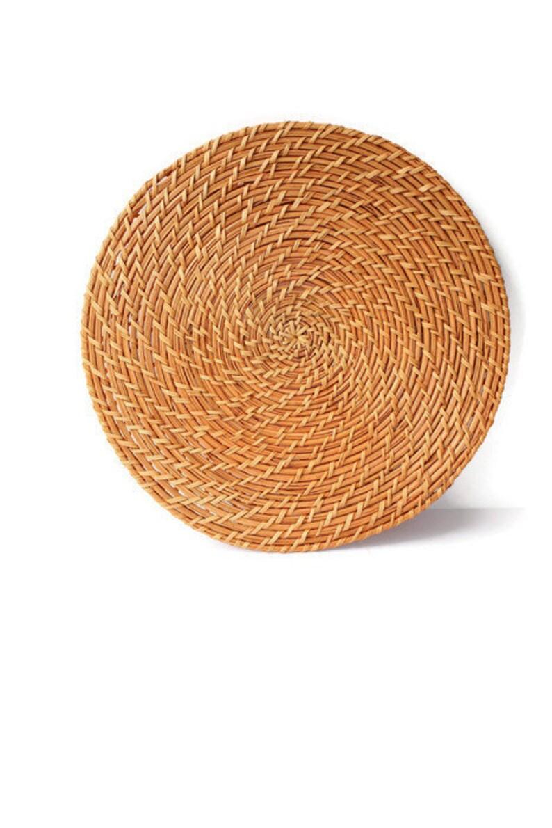Extra Large Woven Mat / Rattan Table Mat / Spiral Weave Round Rattan Trivet  / Natural Beige Rattan Wall Hanging Basket / Flat Weave Basket