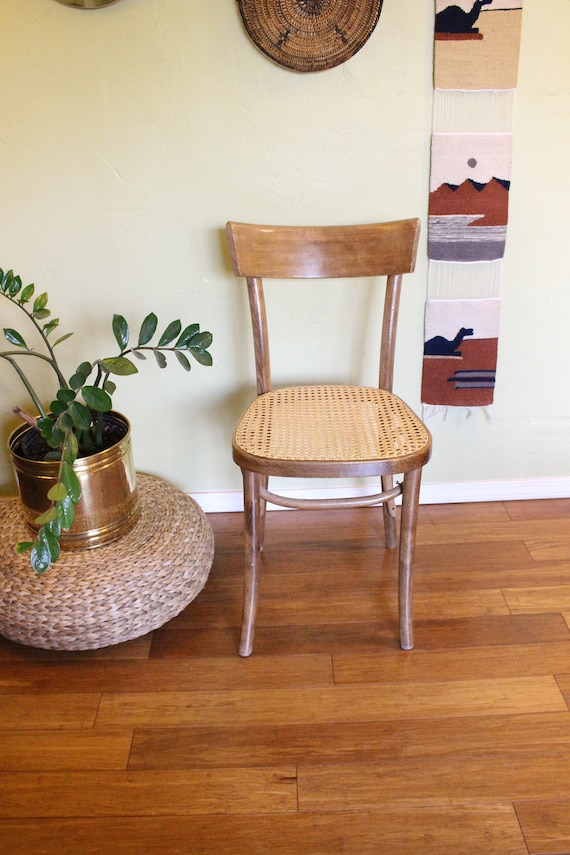 Thonet Mid Century Modern Bentwood And Cane Side Chair / | Etsy