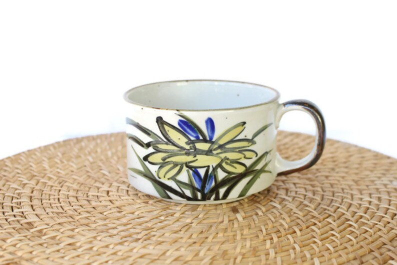 5a945a5e1d7 Otagiri Stoneware Soup Mug / Japanese Ceramic Huge Mug With Hand Painted  Blue and Yellow Flowers / Vintage Stoneware Chili Bowl With Handle