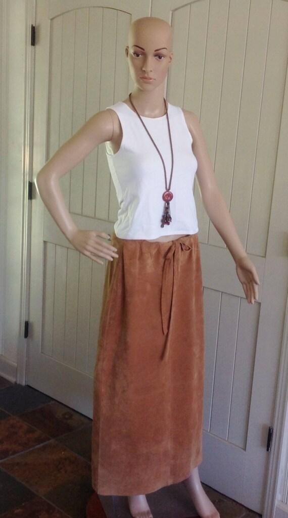 Ralph Lauren 90's Tan leather Suede Maxi Skirt