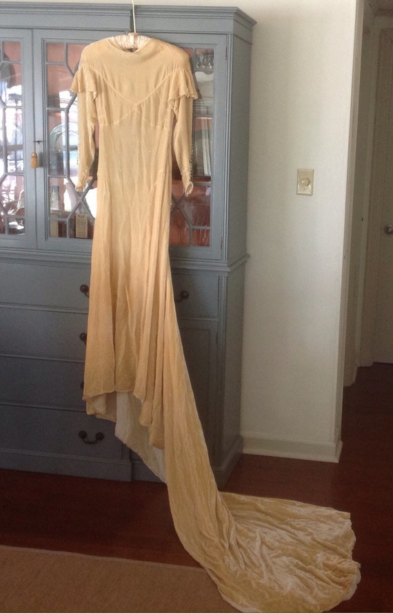 Vintage 1930's soft yellow Silk Velvet Wedding Dre