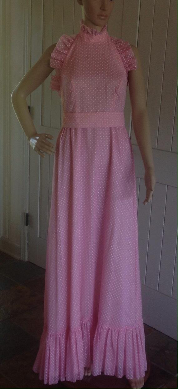 Vintage 1960/70's Pink Polka Dots Maxi Halter Dres