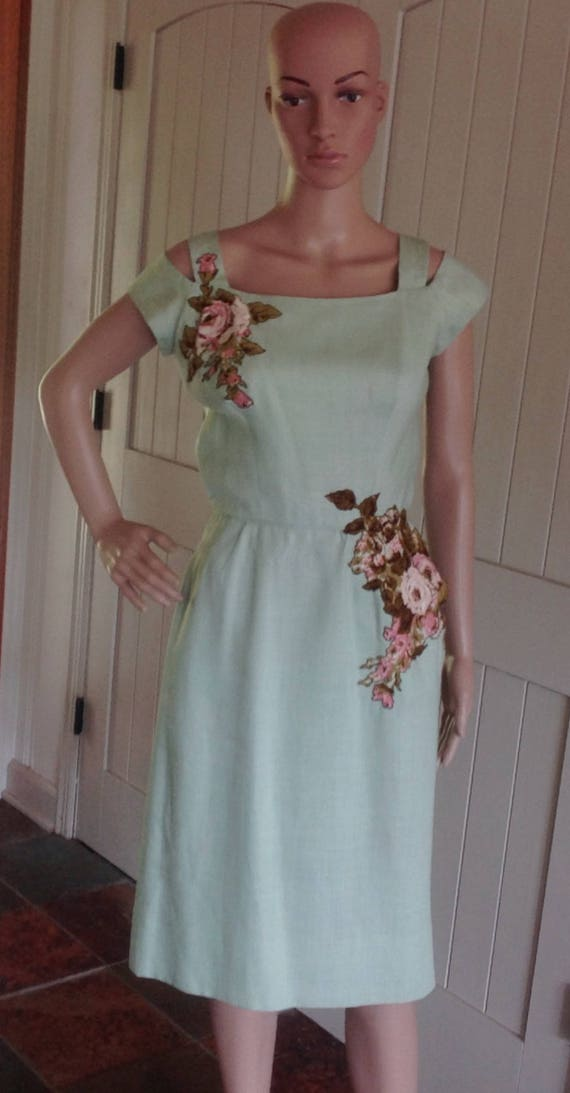 Vintage Dress by Peggy Hunt in Pastel Green Brushe