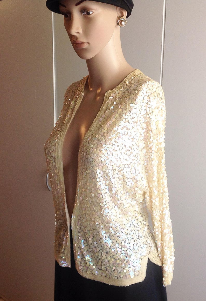 192030 Hand Made in France Evening sweater Top Pastel Color Sequins on Lace