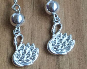 Silver Swan Earrings with Swarovski Crystals - Sterling Silver