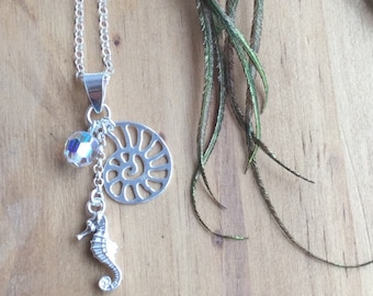 Sea Charm Necklace with Shell, SeaHorse and Swarovski Crystal - Sterling Silver