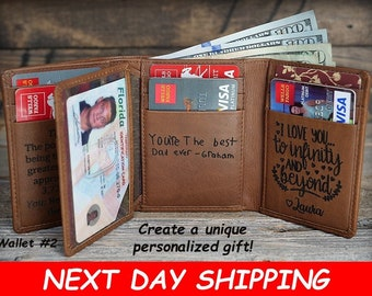 Personalized Mens Wallet, Trifold Mens Wallet, Leather Wallet, Christmas Gift, RFID Wallet, Gift for Dad, Leather Mens Wallet, Gift for Him
