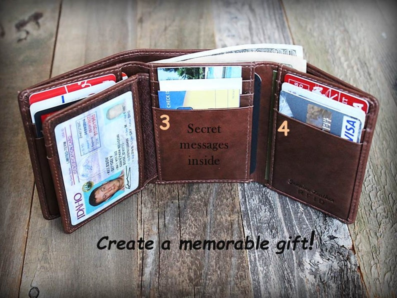 232d661a4c7b7 Personalized Mens Wallet Trifold Mens Wallet Leather