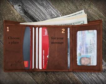Custom Leather Wallet - Personalized Mens Wallet - RFID Wallet - Gift for Dad - Leather Mens Wallet - Trifold Wallet -Husband Gift -Sadl7730