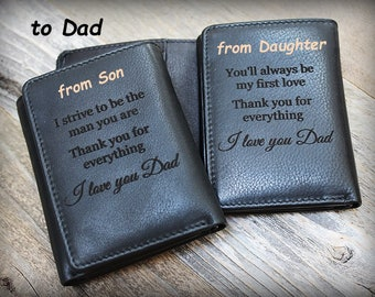 Personalized Mens Wallet - Trifold Mens Wallets - RFID Trifold Wallet - Gift for Dad - Leather Mens Wallet - Trifold Wallet - Black - 7133