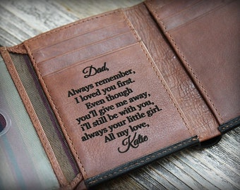 Father's Gift - Fathers Day Gift - Father's Gift for Him - 3rd Anniversary Gift - Leather Wallet - Trifold Wallet - Mens Wallet -Blk/Tof7133