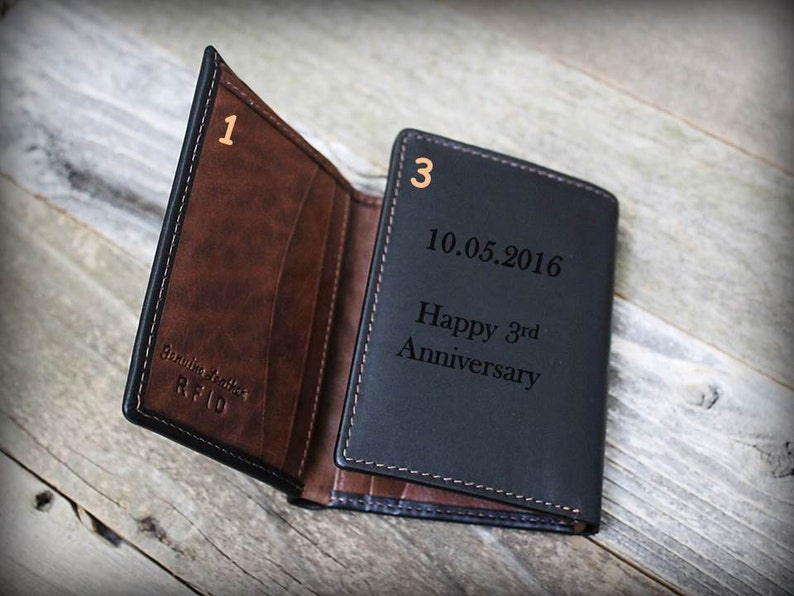 Personalized Mens Wallet Anniversary Gift Gift for Groom from Bride Leather Wallet -RFID Wallet BlkTof Gift for Man 9th Anniversary