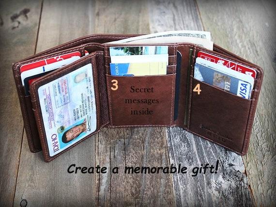 Gepersonaliseerde Mens Portemonnee Trifold Mens Wallet Lederen Portemonnee Vaders Dag Cadeau RFID Portemonnee Cadeau voor papa Lederen Mens
