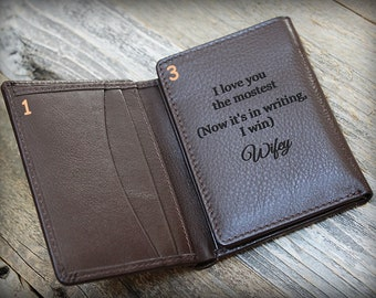 Personalized Gift for Dad - Husband Gift - Custom Leather Wallet - RFID Trifold Wallet - Father's Day Gift - Leather Wallet - Brown - 7730