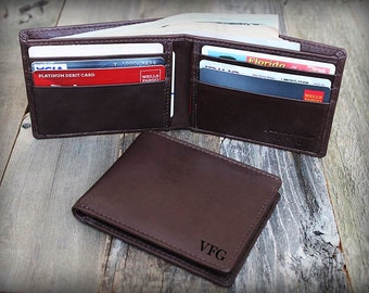 Personalized Slim Wallet - Father's Day - Father Gift - Minimalist Mens Leather Wallet - Thin Leather Wallet - Brown Leather Wallet -7120
