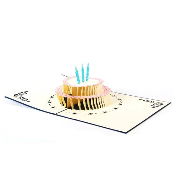 3d Pop Up Birthday Cake Greeting Card Anniversary Birthday Etsy