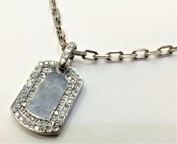 Cool Sterling Silver Junk Yard Dog Chain /& Dog Tag with CZ/'s 925