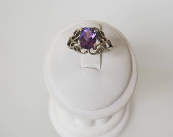 Hand made sterling silver  vintage ring with amethyst stone
