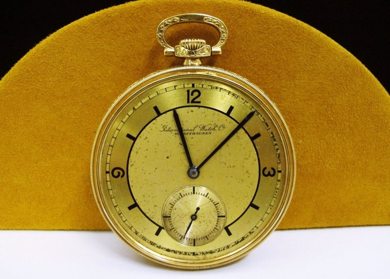Excellent Iwc Schaffhausen Art Deco 14k Gold Two Tones Pocket Watch Antique Jewelry & Watches