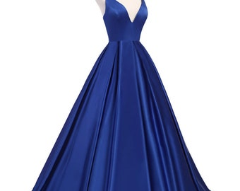 Prom Dress/Bridesmaid Dress/Dark Blue Satin Backless A Line Formal Dress