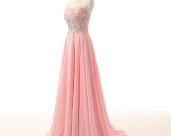Prom Dress/Bridesmaid Dress/Pink Sweetheart Neckline A-Line Formal Dress