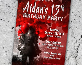 Pennywise Clown Party Invitation *Personalized Digital Printable*
