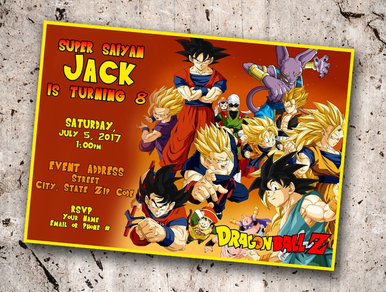 Dragonball Z Personalized Birthday Invitation