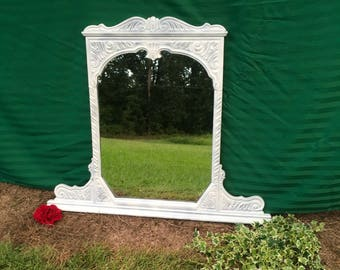SALE!Magnificent Antique French,Country, Cottage, Chic, mirror, all original, handpainted,solid oak,hand carved,Vintage,1940s