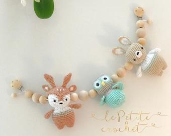 Forest baby stroller mobile, stroller chain, stroller toy, pram chain, pram toy, string toy, baby rattle, crochet owl deer bunny baby mobile