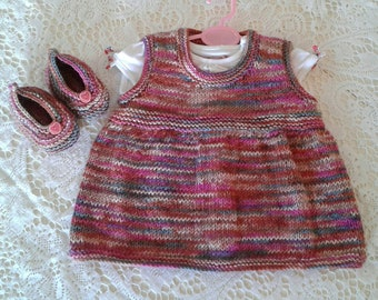 Hand Knitted Girl's Dress with matching Shoes