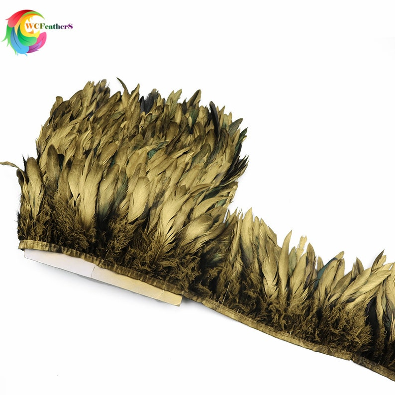 4-6inch Rooster Tail Feather Trim Strip for Wedding Dress Skirt Party Clothing