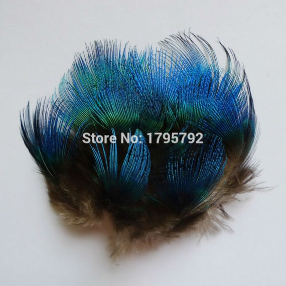 20 50 Pcs 3 6cm Natural Peacock Blue Body Plumage Feathers For Wedding Party Diy Carft Decoration