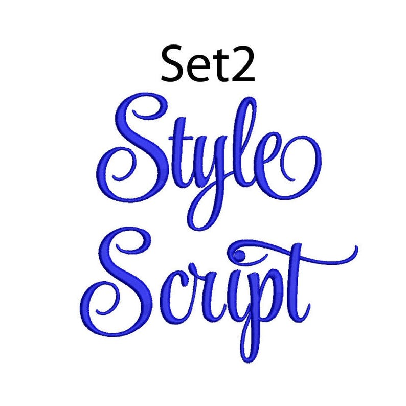 Style Script Embroidery Font 5 Size  Font Machine Embroidery image 0
