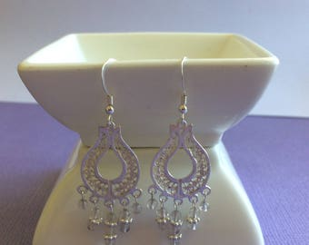 Gorgeous Pale Lilac Amythyst and Sterling Silver Filigree  Chandelier Earrings. Boho Style.