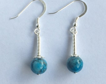 Beautiful Blue Crazy Lace Agate and Sterling Silver Drop Earrings