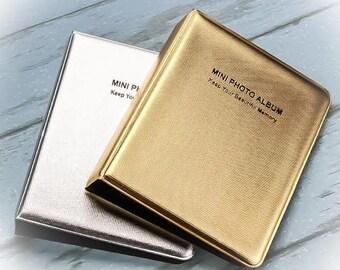 Gold Silver Instax Mini 64 Pockets Photo Album For Fujifilm Polaroid Camera 8/7s/25   Memory Pocket Album Case