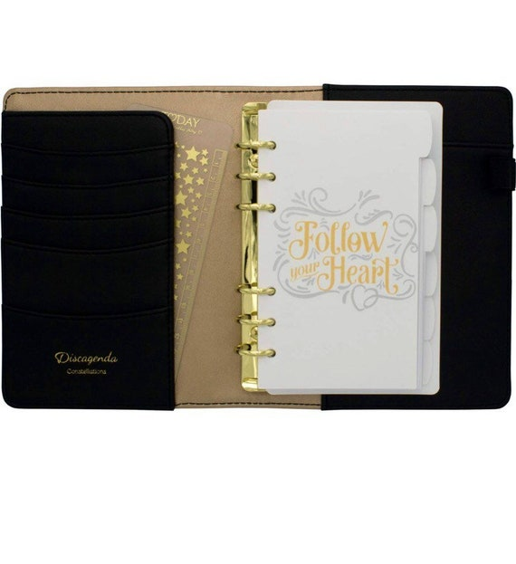 Black & Little Gold Stars A5 Ring bound Planner With Elastic Strap Closure,  Full Year 2019 Dated Refill Organizer Kit