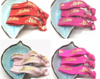 Aloha Gold Foil Fold Over Elastic Ribbon, Beach/Luau Party Hair Ties & Headbands, Hawaiian Birthday FOE [40 Pieces] Ready To Use