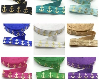 Gold Silver Foil Metallic Printed Anchor Fold Over Elastic Ribbon, Under The Sea Headbands, FOE Hair Ties & Elastics [10 Yards | 50 Yards]