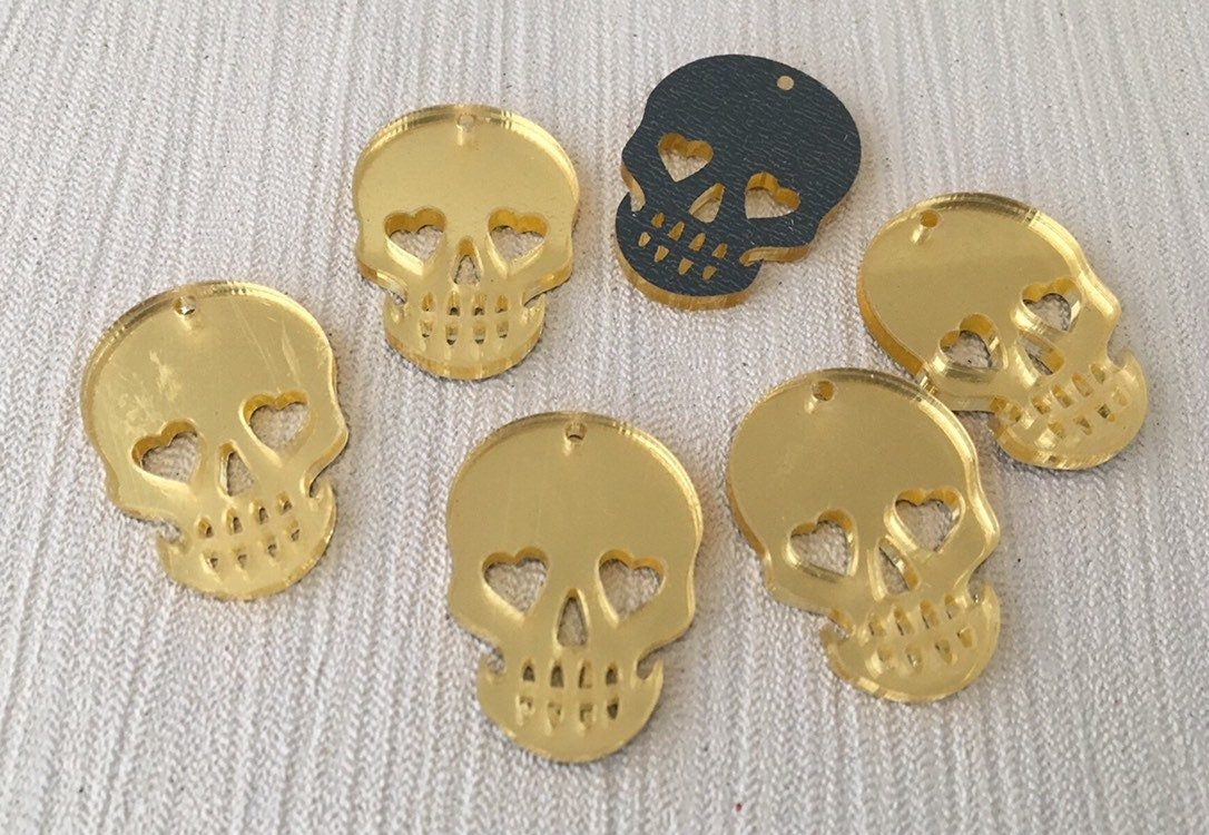 50mm Various Colours//Glitter Available 1 x Laser Cut Acrylic Pendant Skull